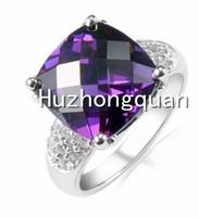 14 kt white gold plated lady zircon ring, purple zircon wedding birthday gift. AS3212