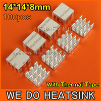 Free Shipping 100Pcs/Lot 14*14*8 mm MOS Chipset Heat Sink Heatsinks Cooler With Thermal Conductive Adhesive Pad
