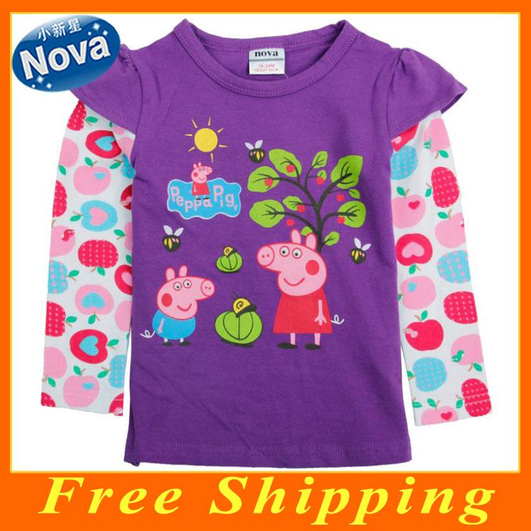 Free Shipping New 2014 Fashion Brand Nova Kids Wear Winter Baby Girls Clothes Long Sleeve Cotton Peppa Pig T shirt F4339(China (Mainland))