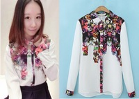 2014 new spring fashion shirt women blouse winter fashion ink print women's turn-down collar shirt base shirt size S M L