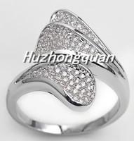 L6899 Fashion 14 kt white gold plated lady zircon ring, WHITE AAA zircon wedding birthday gift.size 6/7/8/910