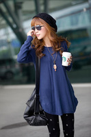 Women's Vintage Long-sleeve Loose Sweater Medium-long Bottoming Lady's Knitting Sweater Plus Size 5 Colors Drop Shipping