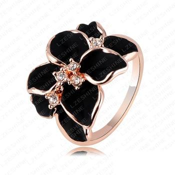 Hotting Sale Jewelry Ring With Розовый Золото Plt SWA Elements Austrian Crystal Черный ...