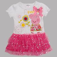 2014 New Peppa Pig Clothing Kids Dress Vestidos Infantis Cotton Ruffle Short Sleeve Baby Girl Dress