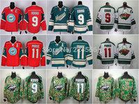 Discount Mikko Koivu Jersey 9# Minnesota Wild jerseys Zach Parise Jersey 11# Ice Hockey Adult Green Red White Camo All Stitching