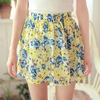 Woman's Floral skirts Spring / Summer Pleated Chiffon TuTu Package Hip Skirt Fashion Retro Cute Ladies Skirt