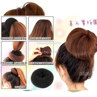 2014 New Fashion Hair Styling Donut Hair Bun Ring Donut Hair roller curler Styler Black, Brown, Beige 3 size S.M.L 5198