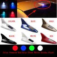 1pcs Car Solar 8 LED Flash Tail Light night running Lamp Shark Fin Decorative 6color free shipping