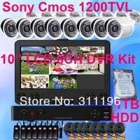 Outdoor CCTV Camera Sony CMOS 1200TVL 8CH 10'' LCD DVR Kit include 1000GB Hard Disk Analog Surveillance System