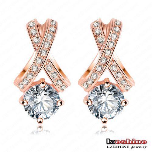 LZESHINE Brand New Arrival Ladies Earrings Stud SWA Element Austrian Crystal Fashion Earrings Jewellery Freeshiping ER0136(China (Mainland))