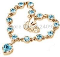 Wholesale Price 18K Gold Plated Heart Crystal Bracelet for Women Fashion Rhinestone Chain Bracelet Wedding Jewelry Factory Price