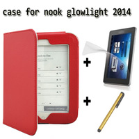 2014 nook glowlight ereader PU leather cover case for noble barnes nook 4 ebook +screen protector free shipping