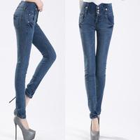 New Winter Women's Jeans Elastic Hight Waist Retro Slim slimming Pants Buttons Pencil Pants Plus Size Trousers