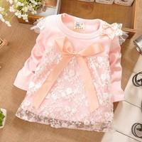 2014 New 1pcs Spring Baby Girls Dress Children cute Dot long sleeve 6 colors Dot dresses Cute Birthday  Party Flower Girls Dress