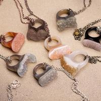 2015 New Brand Vintage Natural Mineral Agate Crystal Handwork Pendant Necklace#CN003