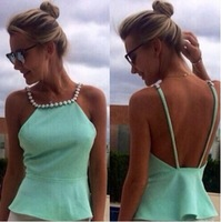 light green backless blouses with pearls on neck camisas femininas free shipping