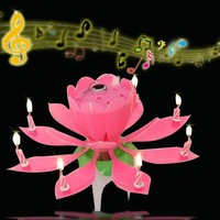 2014 NEW 2PCS/LOT Musical Blossom Lotus 8 Flower Candle Birthday Party Music Sparkle Birthday Candle FREE SHIPPING