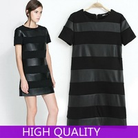 Winter 2015 Fashion Women Dress Short Sleeve O-Neck Solid Color Knitted Patchwork PU Leather Dress Pullover Women Dress Vestidos