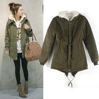 Women's Korean Style Hoodied Overcoat Long Jacket Winter Warmly Coat Parkas Clothes New 1pcs/lot Free Shipping