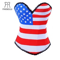 Free shipping FINEROLLS Women Sexy Corselet Bustier  with pentagram Pattern  Cotton Overbust Corset top