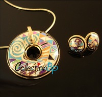 Hot Sale! Fashion Pantone Brand Product Gold Plated Enamel Jewelry Sets with Colorful Necklace/Earrings