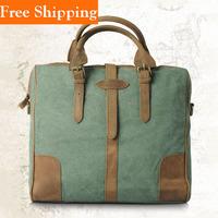Retro Vintage Genuine Men Leather Cowhide Crazy Horse Bag Briefcase Travel Men'S Vintage Canvas Leather Messenger Shoulder Bag