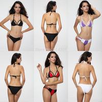 Free Shipping Women Ladies Monokini Padded Swimsuit Bandage Beachsuit  Super Push Up Swimwear Top Bra Stripe Halterneck Bikini