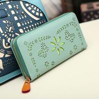 2014 Women's Long Design Fresh Small Wallet Day Clutch Female Handbag Cutout Hollow Out Wallet Newest Fasion Bag 6Colors Blue
