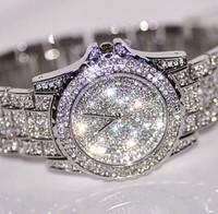 2014 New Arrival Luxury Lady Rhinestone Fashion Shining Crystal Girl Woman Female Dress Watch Large Dial Watch Diamond Bracelet