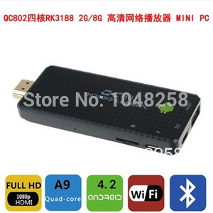 hot sale usb tv stick RK3188 Quad core 1.8GHz 8GB minipc Android Mini PC multimedia pc tv tv ,Russia Spain(China (Mainland))