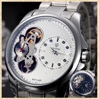 New 2014 fashion  military full steel clock  automatic self-wind  watch tourbillon relogio masculino rhinestone watch for man