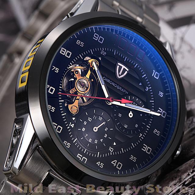 new 2014 military full steel brand automatic self-wind relogios masculino watch mechanical fashion luxury watch tourbillon clock(China (Mainland))