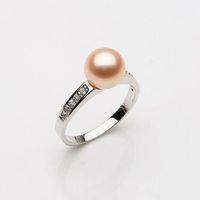 2014 New Brand Natural 100% Freshwater 8-8.5mm Pearl Rings Genuine Zircon Vintage Noble Handwork Jewelry#PR005