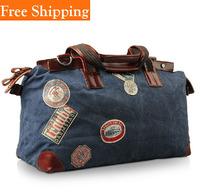 Men Canvas Leather Travel Duffle Fashion Vintage Crazy Horse Leather Men'S Handbag 100% Genuine Leather Tote Shoulder Bag