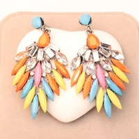 Free shipping Europe and America Fashion Elegant Multilayer colorful gem Cross  Feathers earrings jewelry for women 2014 PD21