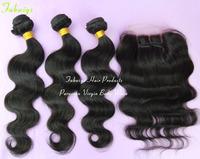 Peruvian Virgin Hair with Closure Body Wave Human Hair Weave 4PCS LOT Peruvian Lace Closure with Bundles Peruvian Body Wave