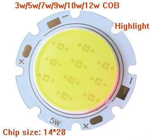 Free shipping,3w 5w 7w 9w 10w 12w COB LED Light Source High Bright COB Surface Light Source Lamp Leads 28*20mm(China (Mainland))