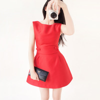 2014 bow decoration three-dimensional cut perfect dress red sleeveless one-piece dress slim elegant