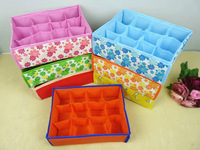 Бокс для хранения 4pcs/lot Dot Design Folding 12 Grid Non-Woven Soft Cover Storage Box For Bra, Underwear, Sock 32*24*10cm