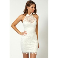 Women Dress See Through Sleeveless Splicing Lace Party Dress Clubbing Mini Dress Sexy Chic evening dress