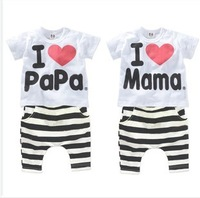 2014 wholesale i love papa mama children T Shirt + pants for Boys Girl Summer Clothes Suits infant children indoor cloth pajamas