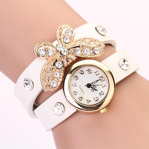 2015 New women vintage leather strap watches,set auger butterfly rivet bracelet women dress watch,women wristwatch PL128(China (Mainland))