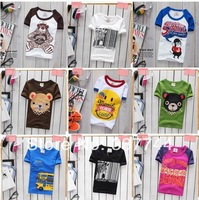 New 2014 children's t-shirt cartoon clothing short sleeve sport t-shirts 100% Cotton,5size , 20 different designs, optional