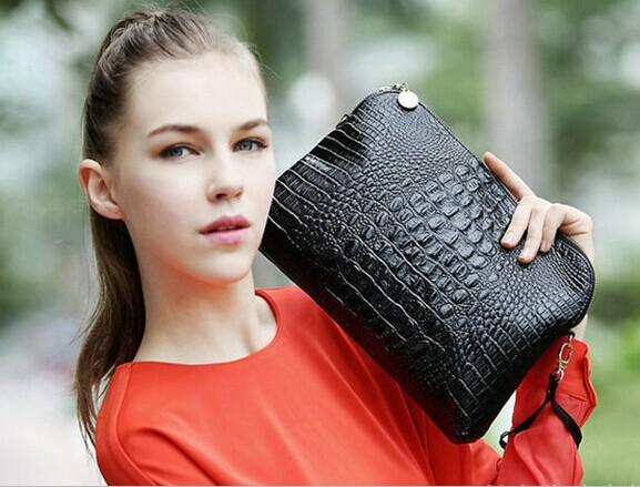 2014 new arrival women's work bag casual handbags genuine leather crocodile women bag messenger bags(China (Mainland))