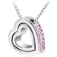 Fashion Austria Crystal   double heart  full rhinestone necklace wholesale