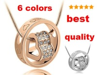 Wholesale Crystal Metal Heart+Ring Pendant Necklaces Imitation Rhodium Plated Necklaces Free Shipping