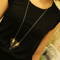 David jewelry wholesale X225 necklaces pendants Fashion punk fashion shield triangle long necklace pendant necklace