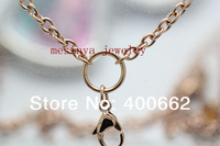 IP rose gold Stainless steel 0.8mm wire 3.0mm width 18''+2''  flat rolo chain for  floating charm glass locket,no locket