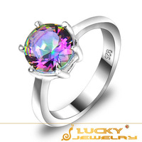 Free shipping _ Wedding Party Attractive Design  Classic Shiny Mystic topaz 925 Sterling Silver Ring R0471