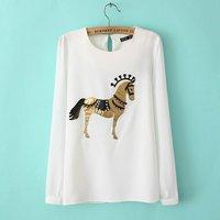 new fashion womens' cute horse print long chiffon blouse Sleeve Shirt casual modern slim brand designer top 0012